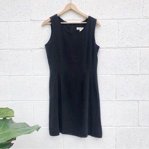 Vtg Black Silk Midi Dress
